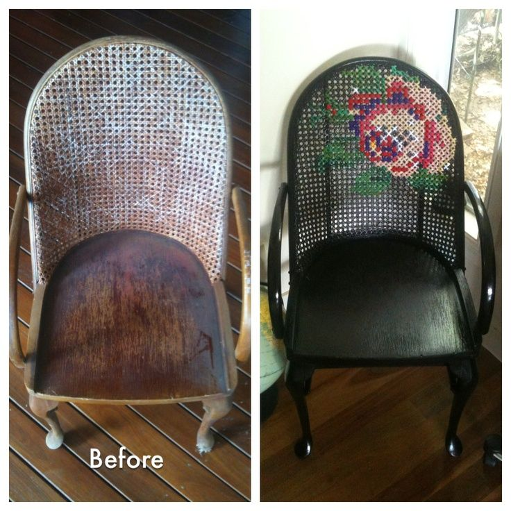 Cross-stitched caned chair