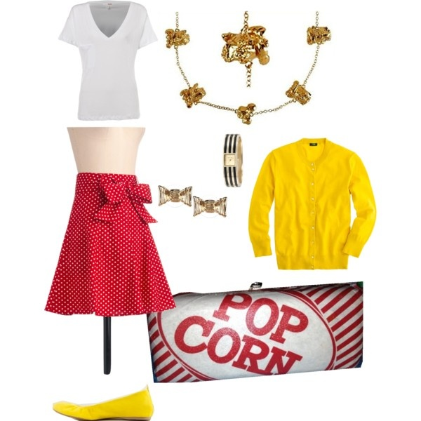 """Movie night outfit based on my DIY popcorn Purse"" and stuff I have in my closet #colorfullylori #lorielberg #storylori"