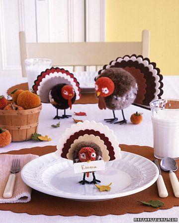 Thanksgiving: Thanksgiving Turkey, Decor Ideas, Thanksgiving Decor, Thanksgiving Kids Crafts, Cards Holders, Martha Stewart, Places Cards, Pom Pom, Thanksgiving Tables