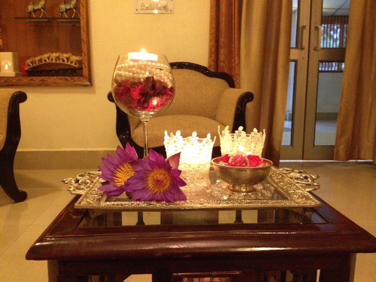 For center tables.. Tea lights,flowers, pearls,lace