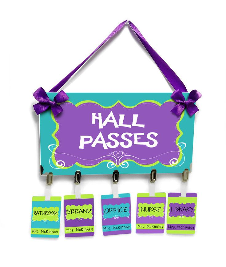 classroom hall passes teachers school bathroom passes, purple lime green and blue - HP36 by kasefazem on Etsy https://www.etsy.com/listing/236977393/classroom-hall-passes-teachers-school