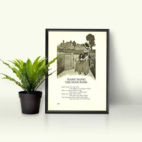 Hark Hark the Dogs Bark  English Wall Decor  Gray and White Art Monochrome  Beggars Coming to Town  Dog Themed Print Canine Vintage Page by RetroPapers