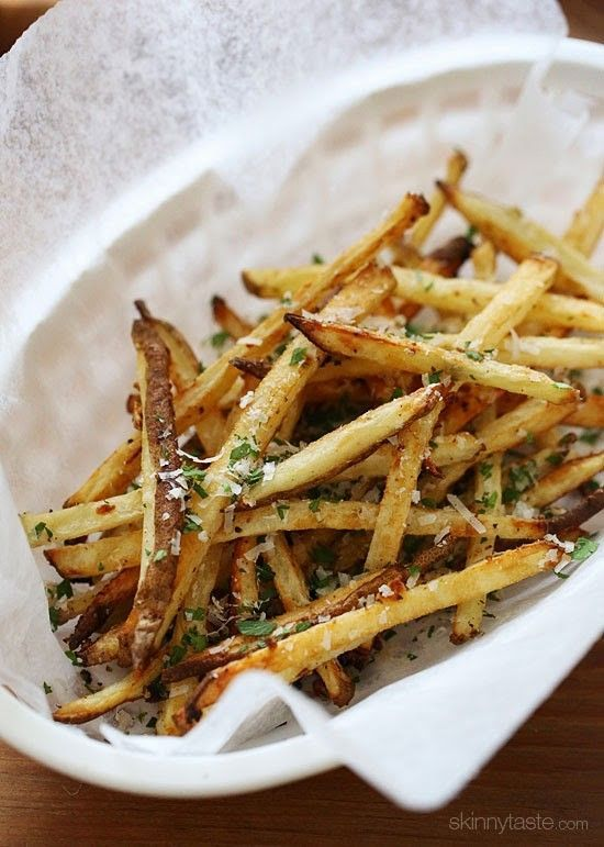 These delicious fries are baked in the oven with garlic, a little olive oil, kosher salt and black pepper, then sprinkled with freshly grated Parmesan and parsley – to die for!  Inspired by a night out with friends, my girlfriend ordered something very similar although fully fried and I couldn't stop eating them – I knew I had to make them at home!     Yesterday I set out to see if I can recreate them, and luckily I had a houseful of people who helped me taste test them. BIG HIT with…