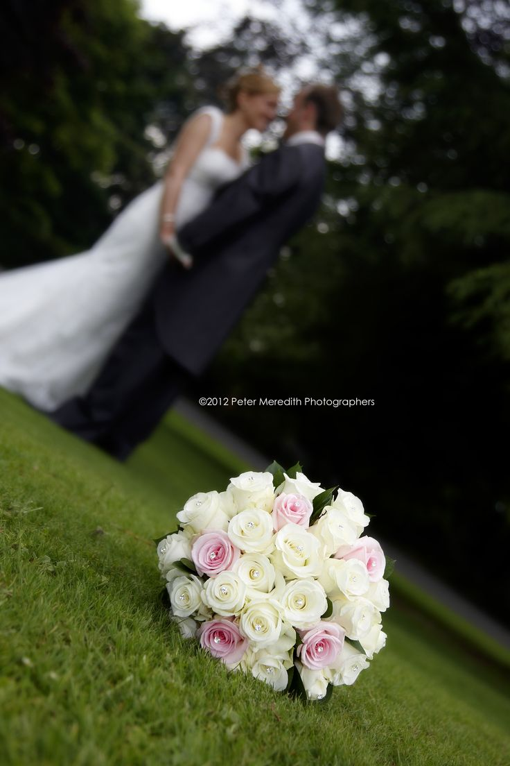 ivory and pink rose handtied brides with diamontes wedding www.flowerartbycatrin.com llanelli wales