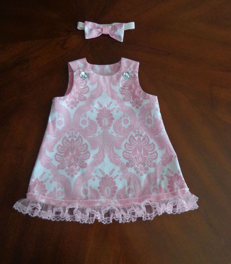 Shabby Pink Damask Baby Dress & Headband 0-3 mo. Fits Reborns Dolls too #Handmade