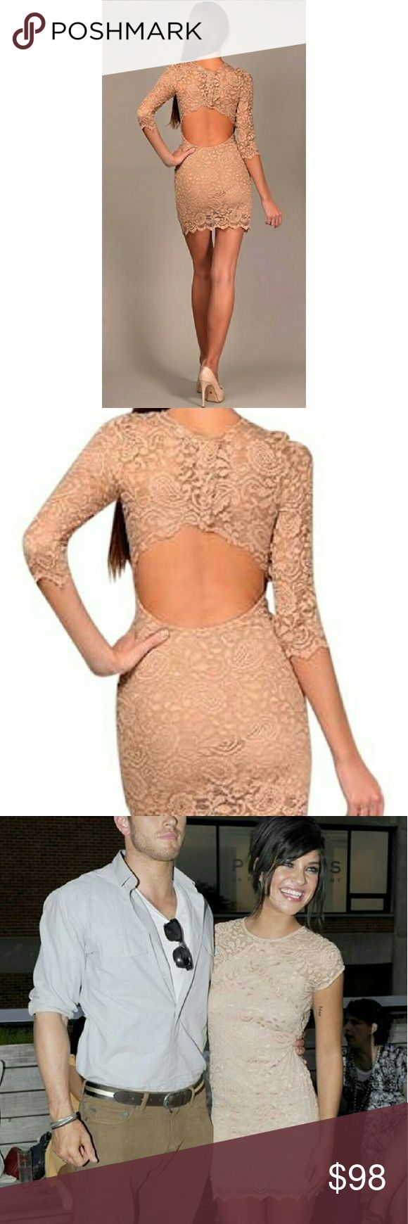 GILBER GILMORE NIGHT CAP NUDE BEIGE LACE DRESS MED Night cap nude lace backless dress as seen on Nicki minaj and Jessica szohr. Size medium. Purchased at Big Drop Boutique NYC UES. Gilber Gilmore Dresses Backless