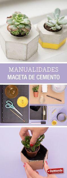Tutorial DIY - CÓMO HACER UNA MACETA HEXAGONAL DE CEMENTO en DaWanda.es
