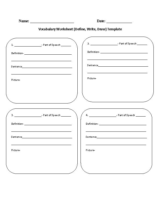 Vocabulary Worksheet Define,Write,Draw Template ...