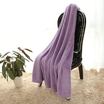 Simple&opulence Solid Coral Jacquard Dot Velvet Throw Blanket(Purple)