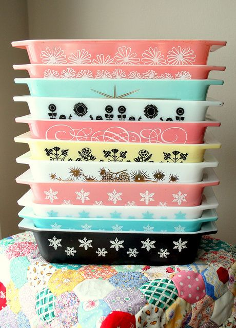 Stack of Pyrex by lolie jane, via Flickr  lovely! Makes me think of you Tasha