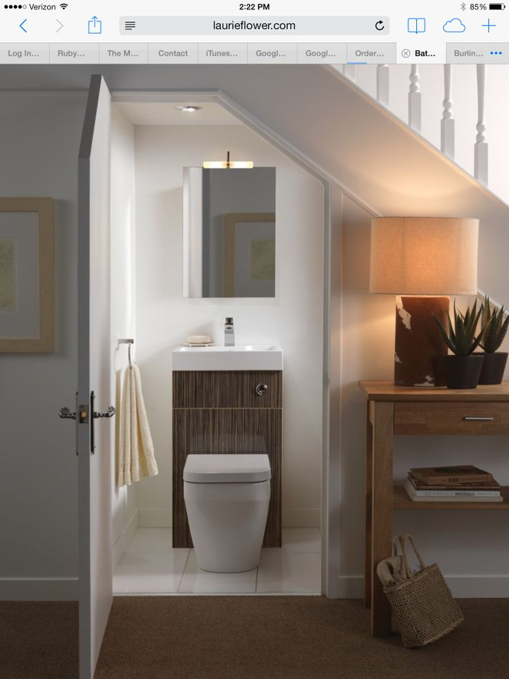Lighting Basement Washroom Stairs: 14 Best Under Stairs Powder Room Ideas Images On Pinterest