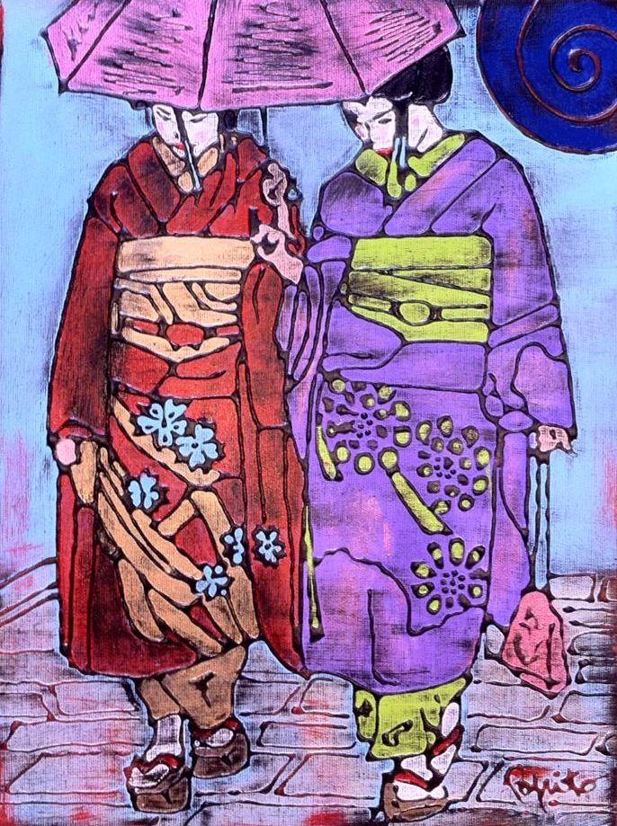LE GEISHE DI KYOTO - 30x40 cm. Acrilc on canvas - 2015 - #GEISHA