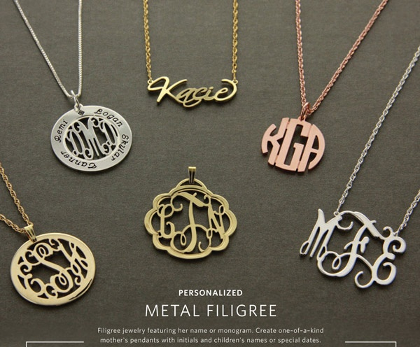 65 best heartstrings monogram jewelry and gifts images on beautiful filigree initial monogram necklaces and pendants mozeypictures Choice Image