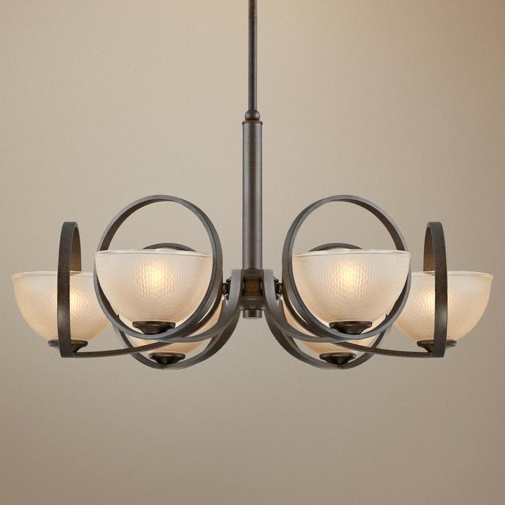 franklin iron works gold luster 6 light chandelier. Black Bedroom Furniture Sets. Home Design Ideas