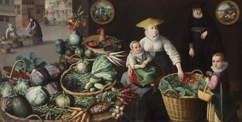 Jean Baptiste de Saive Vegetable Market (July-August) 1590 oil on canvas 108 cm x 220 cm  frame Dimensions: 122.5 cm x 234 cm x 5.5 cm Kunsthistorisches Museum Vienna, Gemäldegalerie