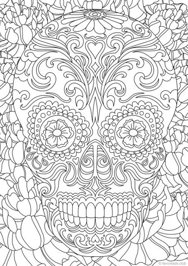 Sugar Skull Printable Adult Coloring Page from Favoreads