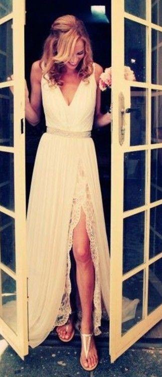 Blush wedding dress chiffon vintage wedding dress split by 214ever