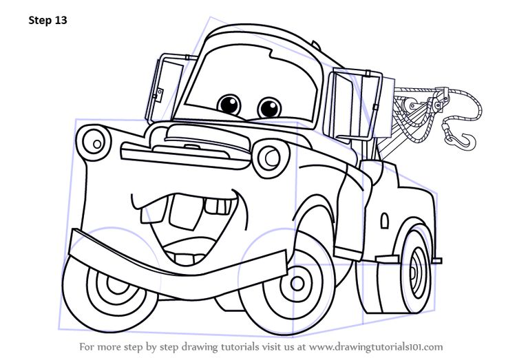 Step by Step How to Draw Tow Mater from Cars