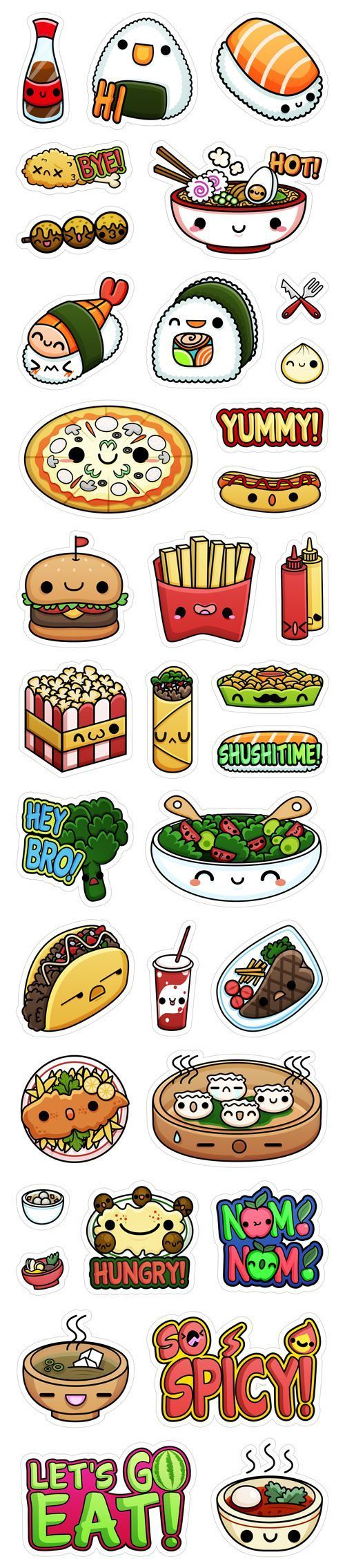 :) Viber's Kawaii Food Stickers by Squid&Pig, via Behance | Más en https://lomejordelaweb.es/