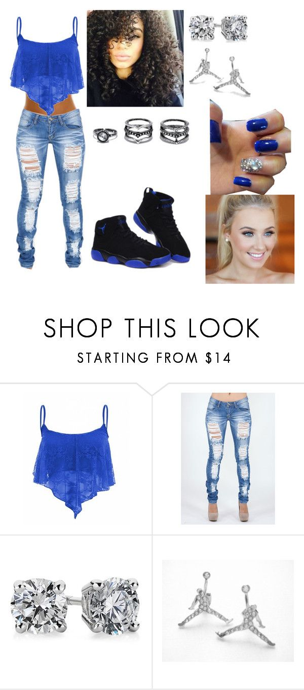 """""""Royal blue"""" by trumajesty ❤ liked on Polyvore featuring Blue Nile, CO, Lulu*s, Blue, jordans, slayallday, vaehsstyle and savagemovingforward"""