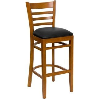 Ladder Back Wooden Restaurant Barstool Black Vinyl Seat