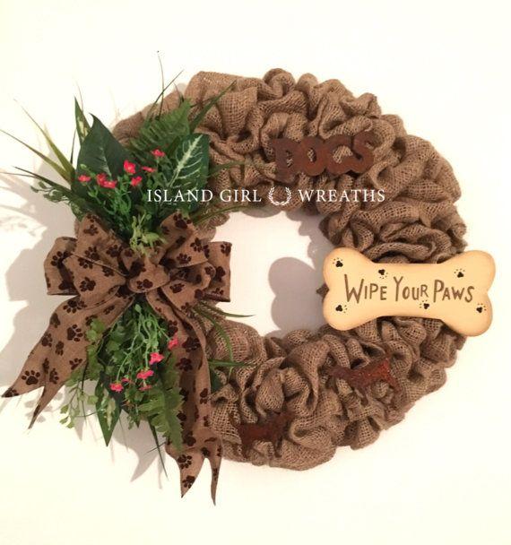 Dog Wreath Pet Wreath Pet Burlap Wreath Rustic Pet Décor