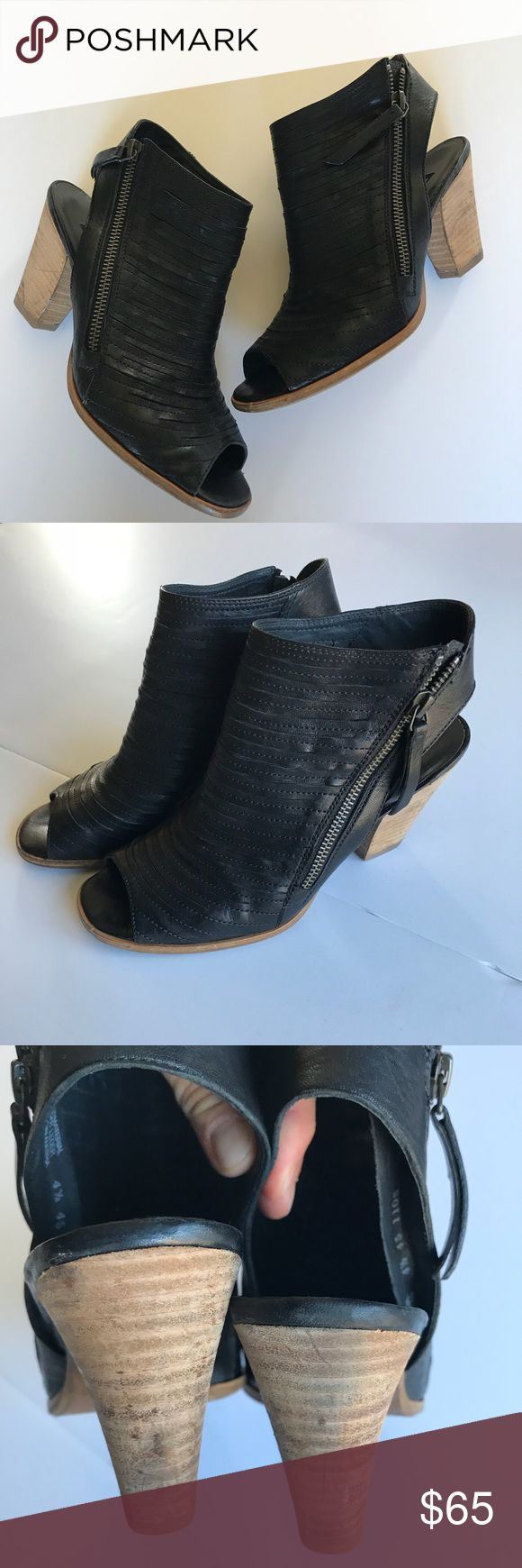Paul Green peep toe heels Side zip, stitched leather upper, stacked heel Paul Green Shoes Heels