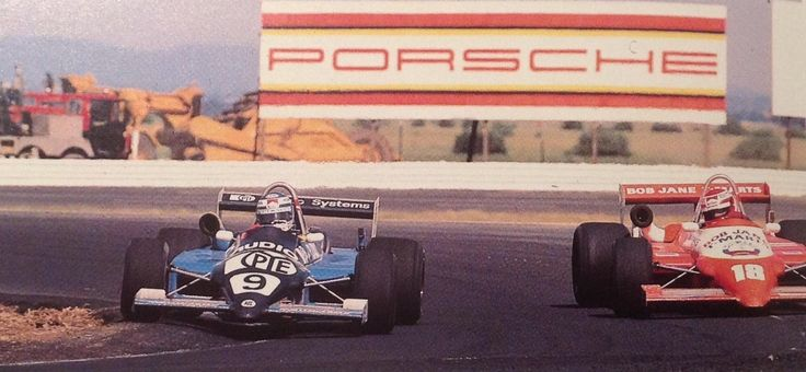 AGP Calder 1984. F1 drivers in F Pacific cars, Ralt RT4/85 Ford's. Rosberg, 2nd on the inside, Lauda, DNF prang, on the outside. Roberto Moreno won the race in another RT4, his 3rd AGP win. (History of The AGP)