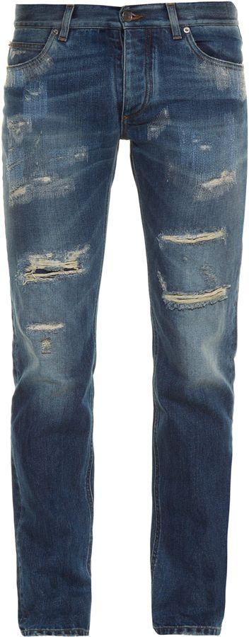 DOLCE & GABBANA Distressed slim-leg denim jeans