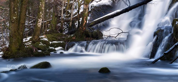 Winter Waterfall - Long exposure waterfall with icicles hanging from the log of a fallen tree.