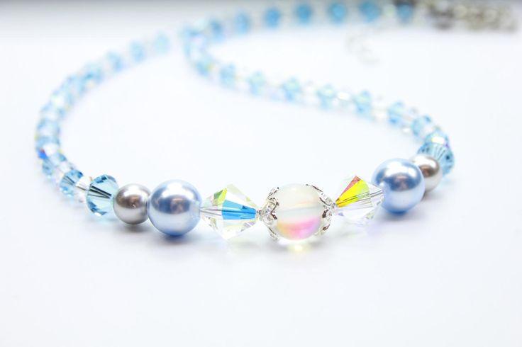 Aqua Crystal Necklace, Moonstone Necklace, Blue Pearl Dainty Necklace, 16 Inch Crystal Choker, March Aqua Birthday, Rainbow Moonstone by MystiqueBlueJewelry on Etsy