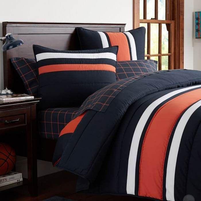 17 best images about auburn apartment dorm bedroom ideas - Navy blue and orange bedding ...