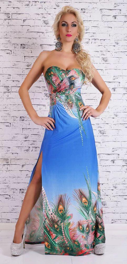 Krásné dlouhé dámské šaty bez ramínek