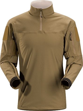 Arcteryx Sphinx Halfshell : This technical combat top can be comfortably worn under armour, web gear, or while carrying a pack. Tweave® Durastretch® in the yoke and shoulders, adds abrasion resistance to high wear areas and Durastretch® LT in the torso increases breathability. Articulated arms allow freedom of movement, and sleeves can be rolled up and secured out of the way. A high mandarin collar seals out drafts and a quarter-zipper makes layering easy.