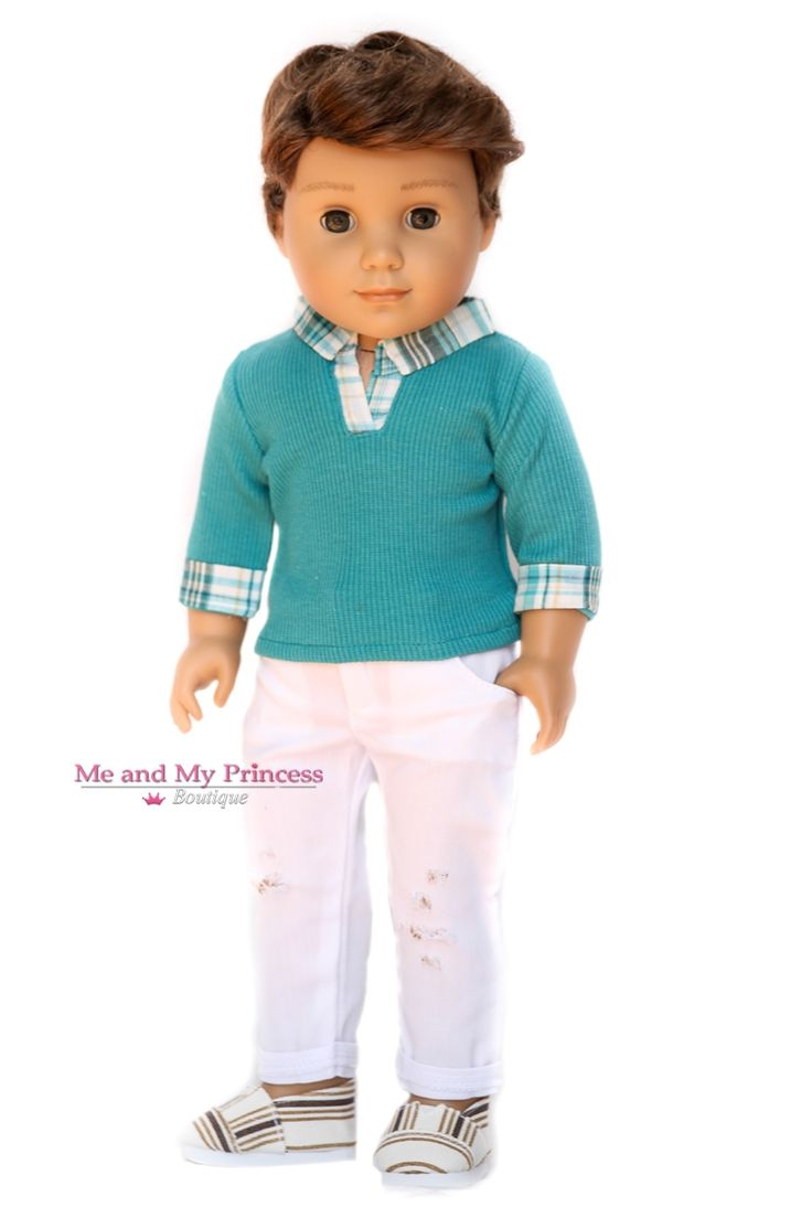 Ribbed Top & Distressed White Pants & Shoes for American Boy Doll Clothes