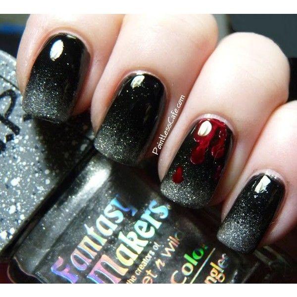 Halloween Nail Art Zombie Nails! ❤ liked on Polyvore featuring beauty products, nail care, nail treatments, nails, beauty i nail polish
