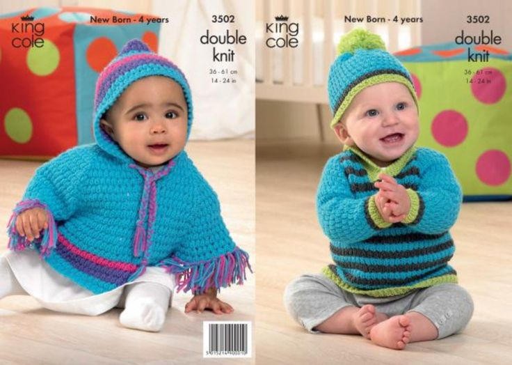 King Cole 3502 Knitting Pattern Baby Child Poncho Jumper hat 14-24 inched (36-61cm) DK new by Bobbinswool on Etsy