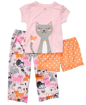 Carter's Baby Set, Baby Girls 3 Piece Sleepwear Set