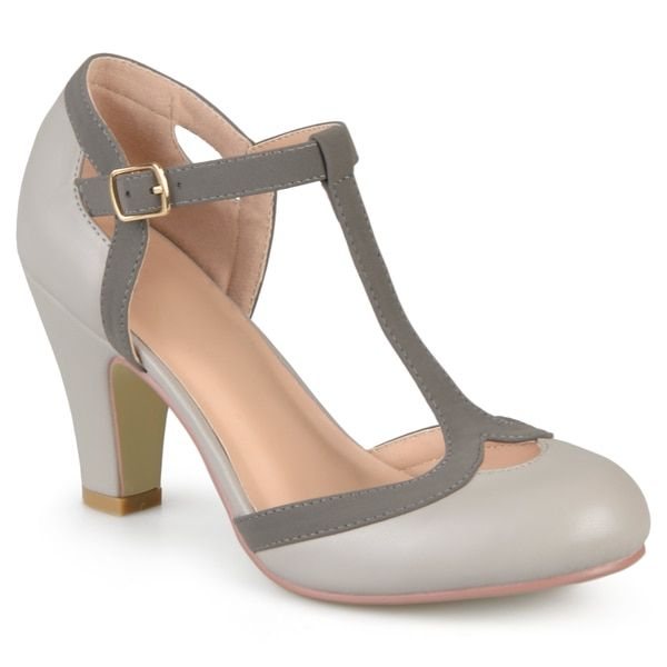 Journee Collection Women's 'Olina' T-strap Round Toe Mary Jane Pumps   Overstock.com Shopping - The Best Deals on Heels