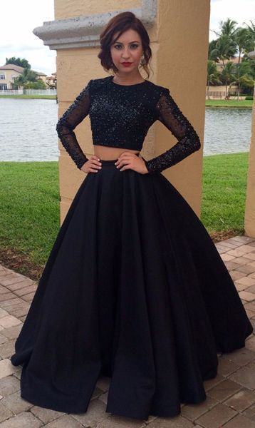 Beading Long Tulle Sleeves Satin Two Piece Prom Dresses
