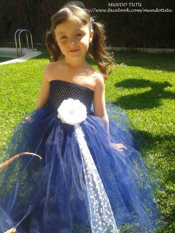 Vestido de tul multicolor con flor y lazo para niñas.  Colores y detalles a elegir. Ideal... €45