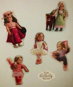 American Girl Doll Play ... laminate and put magnet on back of dolls from catalog