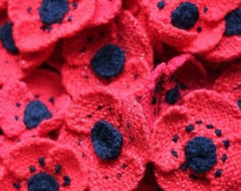 Knitted Poppy Brooch - 'Tiny Stitches Poppy Appeal 2014'