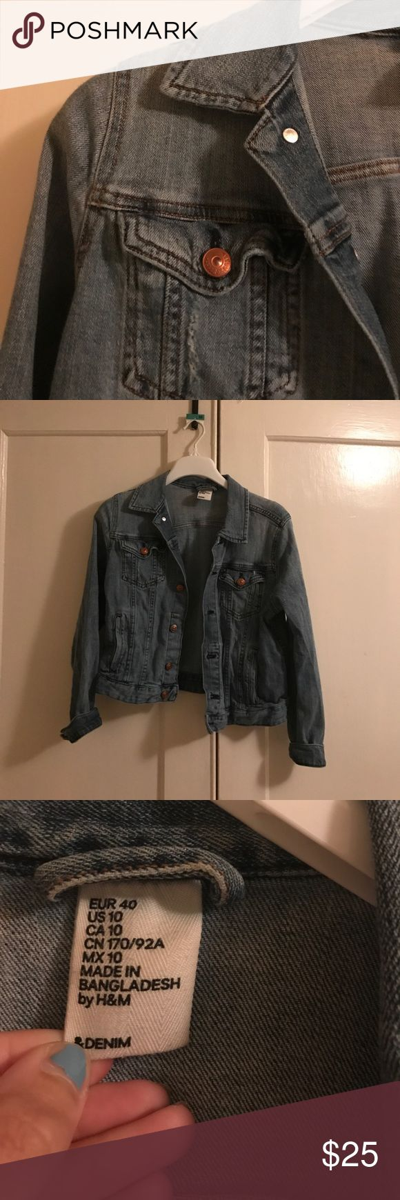 H&M denim jacket Super versatile denim jacket from H&M. The tag says size 10, but it's more like a 6 or an 8. It is pretty stretchy, as far as denim jackets go. I really like this jacket - I just never wear it! H&M Jackets & Coats Jean Jackets