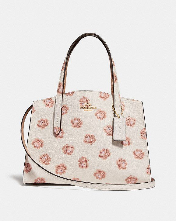 288bd157408f Coach Charlie Carryall 28 With Rose Print Pebbled Leather