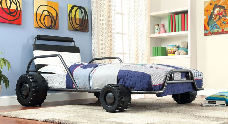 Explore the kids car beds on eFurnitureHouse.com including the Turbo Twin Metal Car Bed Frame