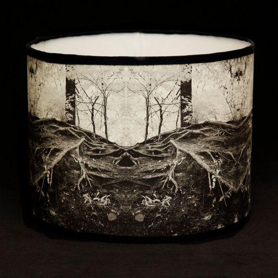 Drum lampshade handmade tree roots original by Gingerartlamps, $125.00