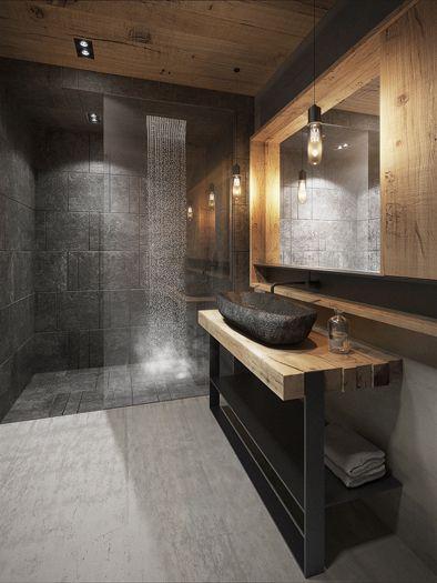 naturalne materiały w łazience, umywalka kamienna