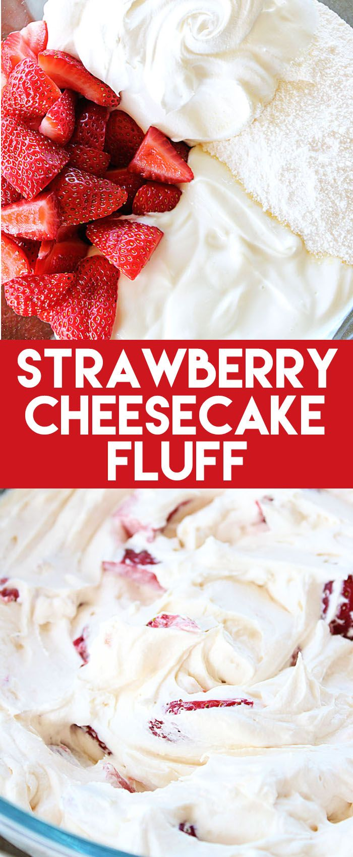 This Strawberry Cheesecake Fluff needs just four ingredients to make an awesome side or dessert recipe! It tastes so fresh and delicious.