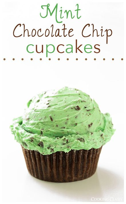 Chocolate Cupcakes with Mint Chocolate Chip Buttercream Frosting -